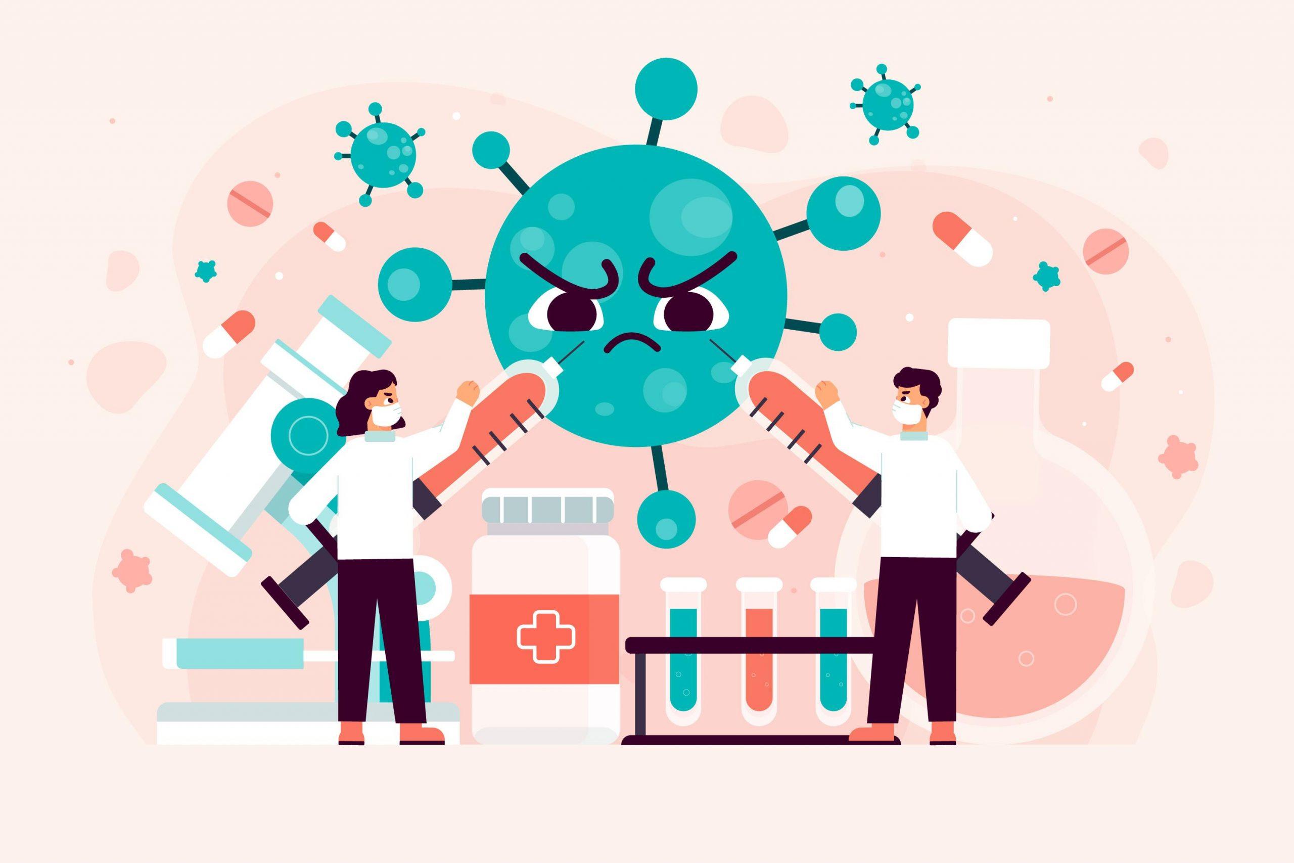 Ilustrace výzkumníků a lékařů bojujících s virem.