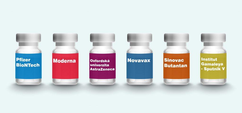 Ilustrace šesti různých láhví s vakcínou
