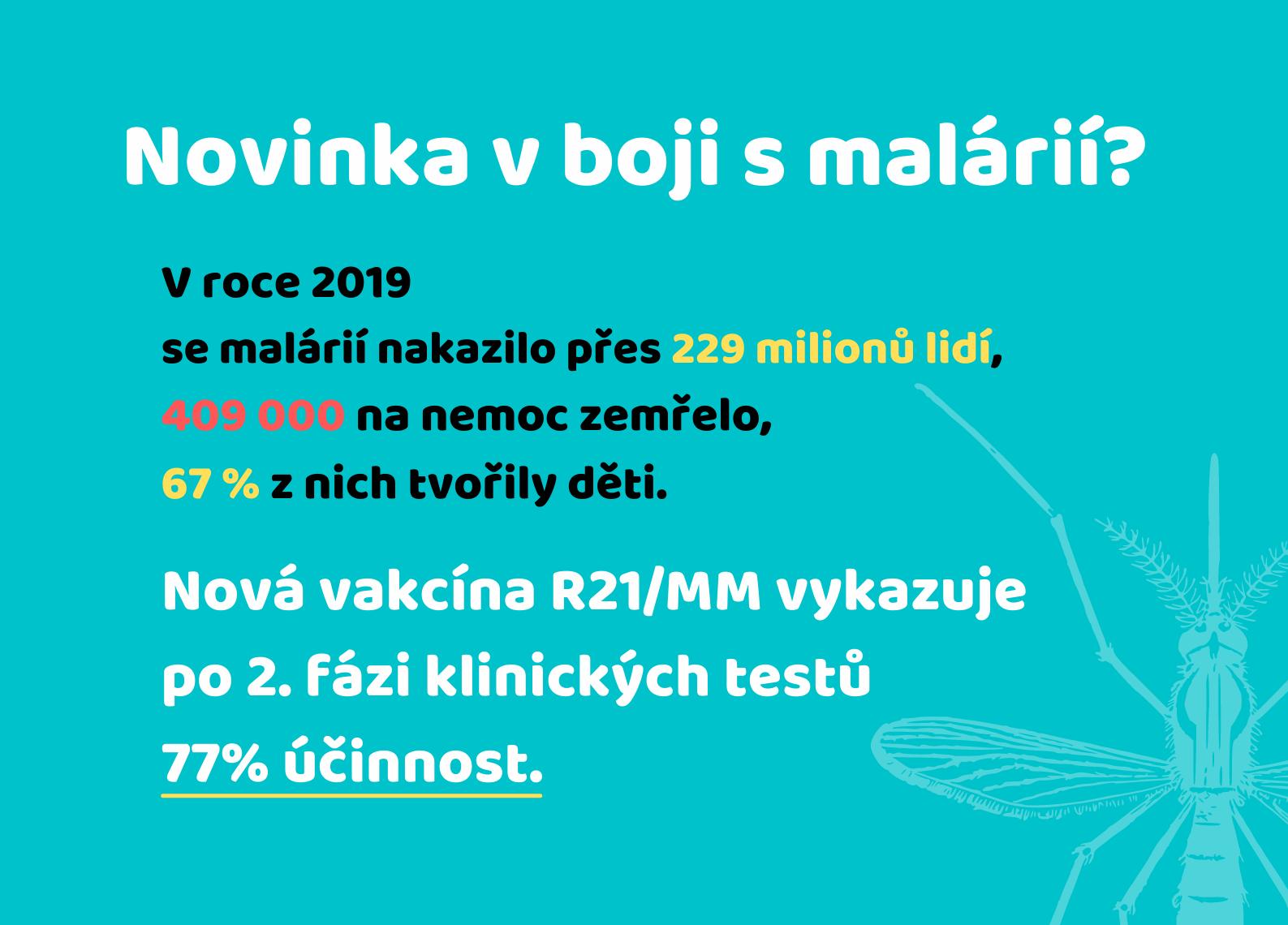 Infografika k očkování proti malárii.