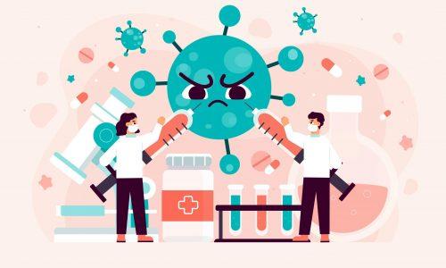 Animace výzkumníků a lékařů bojujících s virem
