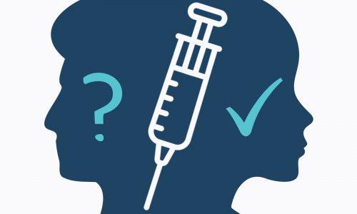 Ilustrace zobrazuje dvě hlavy. V středě se nachází vakcína, v jedné hlavě je otazník a v druhé háček.