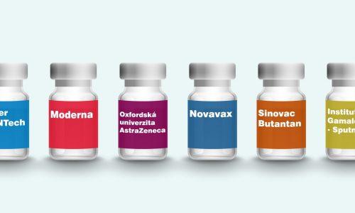 Ilustrace šesti různých ampulek s vakcínou